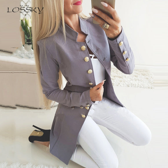 Lossky Women Jacket Blazers Slim Lady Office Wear Outwear Long Sleeve Stand Collar Formal Suit Long Black Red Autumn Spring Coat