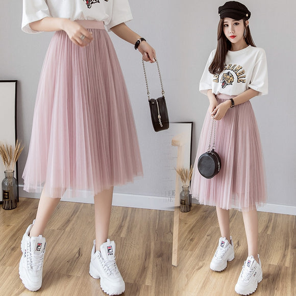 Tulle Skirts Womens Midi Pleated Skirt Black Pink Tulle Skirt Women  Spring Summer Korean ElasticHigh Waist Mesh Kawaii