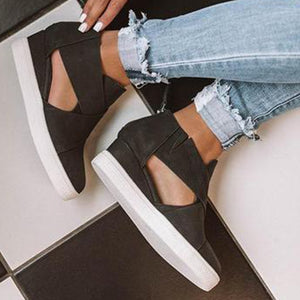 Women Hollow Out  Slip On Vulcanized Casual Flats Sneakers Ladies Shallow Comfortable  Shoes Female  Sneakers