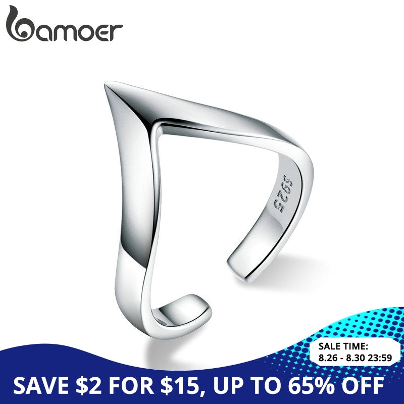 BAMOER Authentic 925 Sterling Silver Wave Geometric Love Adjustable Finger Rings for Women Wedding Engagement Jewelry SCR470