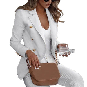 Autumn Solid Women Blazer Suit Coat Autumn OL Work Bussiness Jacket Plus Size Jackets Veste Femme Slim Ladies Blazer Feminino