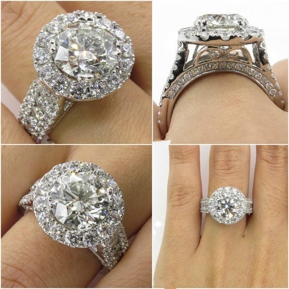 Luxury Female Big Zircon Stone Ring 925 Silver Filled Ring Vintage Wedding Band Promise Engagement Rings For Women