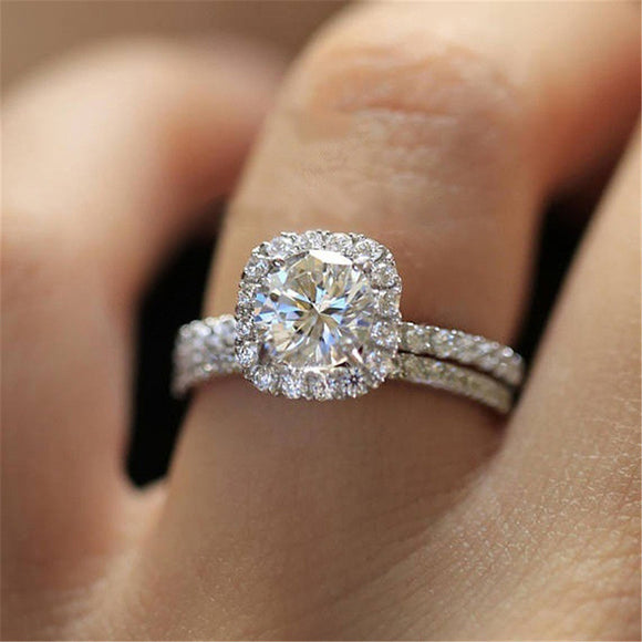 ZORCVENS Classic Engagement Ring Set Square Design AAA White Cubic Zircon Female Women Wedding Band CZ Rings Jewelry