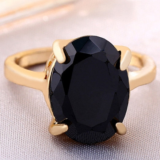Vintage Clear Oval Zircon Women Ring Gold Color Rings Fashion Women Ring Party Accessories New