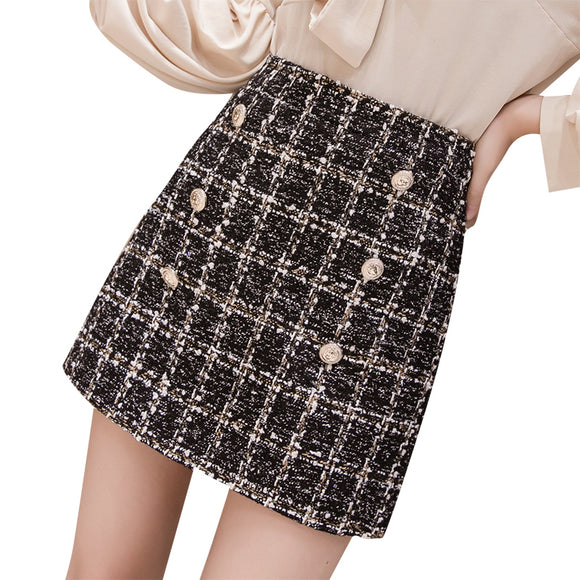Small Fragrance Woolen Mini Skirt 2019 Winter Women Vintage Plaid Gold Double-Breasted Tweed A-Line Skirt High Waist Femininas
