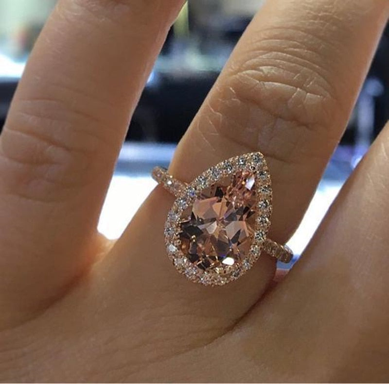 Charm Big teardrop Cubic Zircon wedding Rings for Woman Elegant rose gold Party Finger Jewelry girl Gift Bijoux