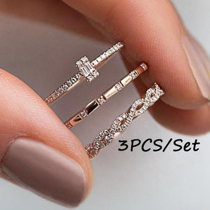 3pcs/Set Charm Crystal Thin Stackable Twist Ring Set Ladies Single Stone Engagemen Wedding Ring Flash  Inlaid Ring