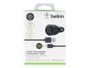 Belkin 2-Port Car Charger - Adaptador de corriente para el coche - 20 vatios - 2.1 A - 2 conectores de salida (USB) - negro - para Apple iPad/iPhone/iPod (Lightning)
