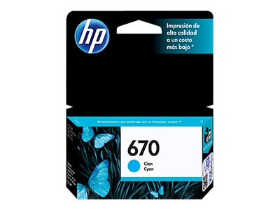HP 670 - Cian tintado - original - Ink Advantage - cartucho de tinta - para Deskjet Ink Advantage 3525, Ink Advantage 4615, Ink Advantage 4625, Ink Advantage 5525