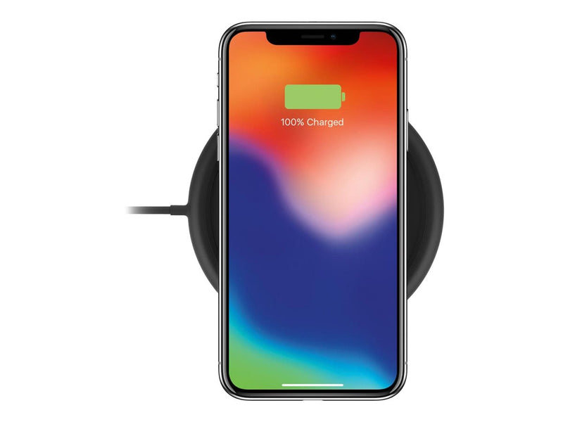 mophie Charge Stream Pad+ - Base de carga inal‡mbrica + adaptador de corriente CA - 10 vatios - Apple Fast Charge / Samsung Fast Charge - negro