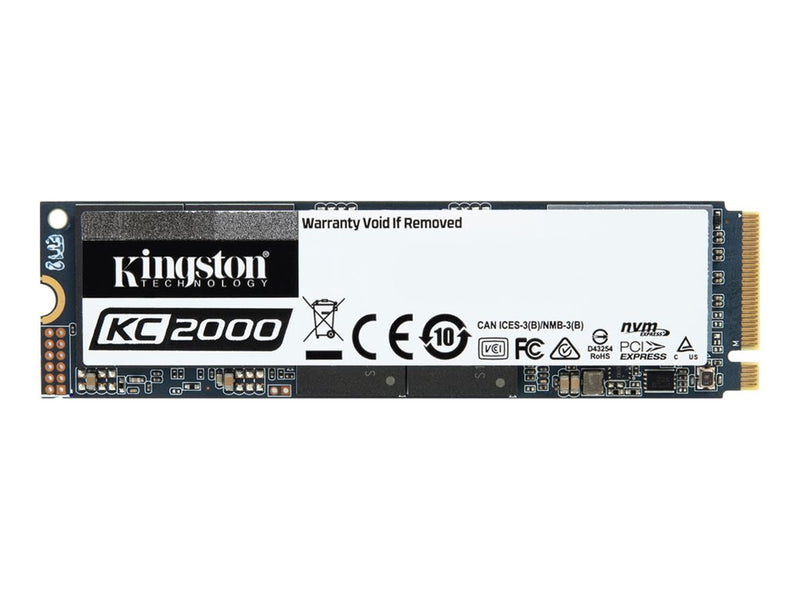 Kingston KC2000 - Unidad en estado s—lido - cifrado - 2 TB - interno - M.2 2280 - PCI Express 3.0 x4 (NVMe) - AES de 256 bits - TCG Opal Encryption 2.0
