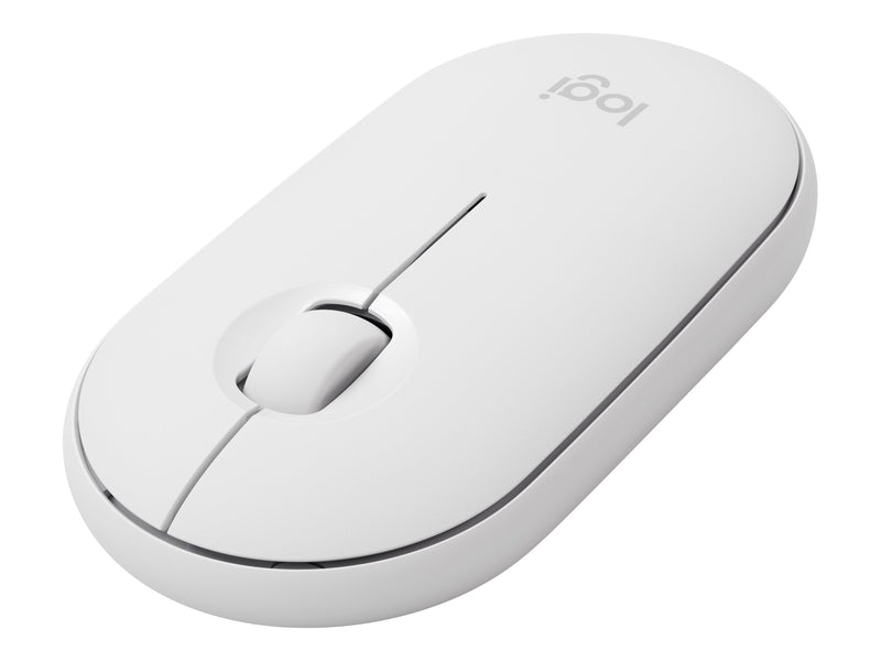 Logitech Pebble M350 - Rat—n - —ptico - 3 botones - inal‡mbrico - Bluetooth, 2.4 GHz - receptor inal‡mbrico USB - blanco hueso