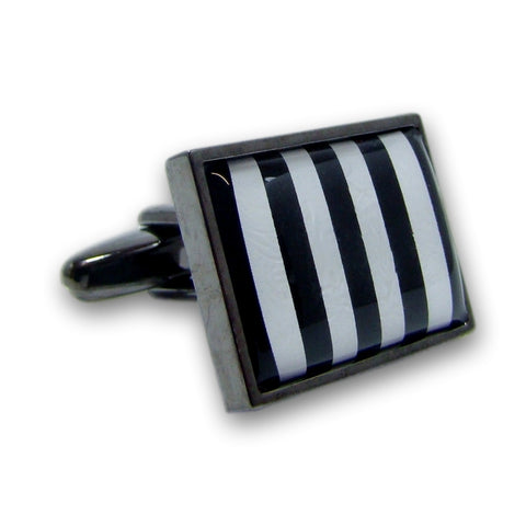 Manchetknopen Zwart Wit Stripes