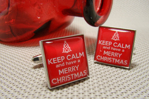 Manchetknopen Keep Calm and have a Merry Christmas