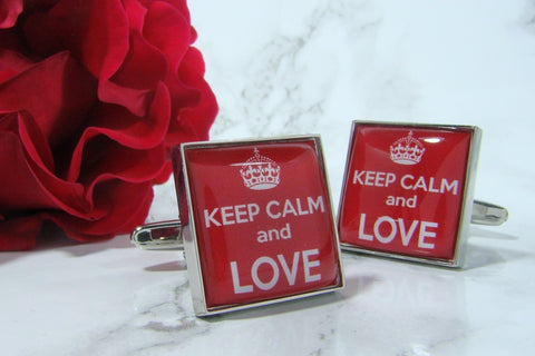 Manchetknopen Keep Calm and Love
