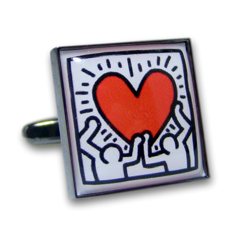 Manchetknopen Keith Haring - Heart - Antraciet Mechaniek