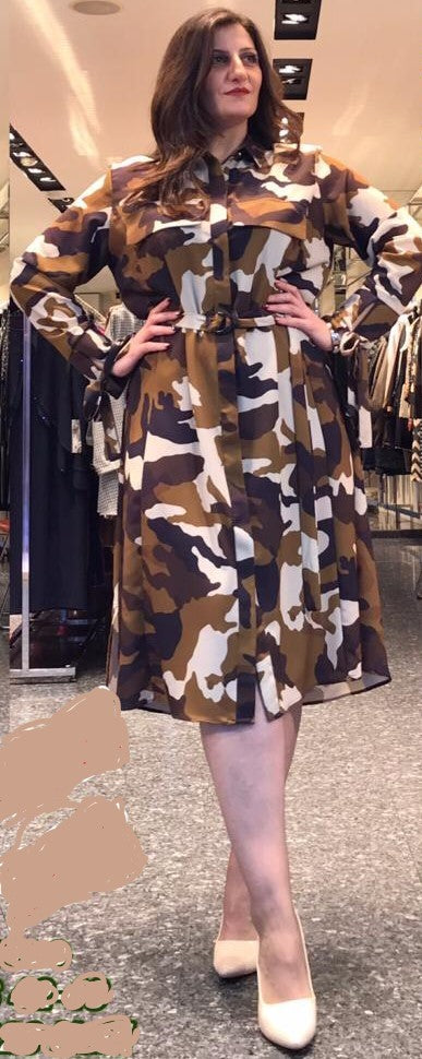Ninalle Camouflage Long Arm Dress
