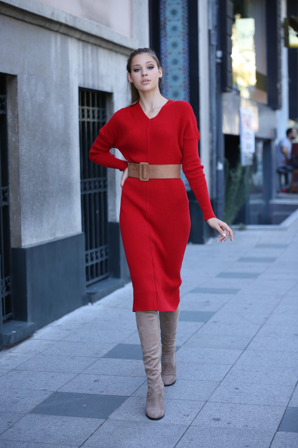 LONG RIBBED RED DRESS