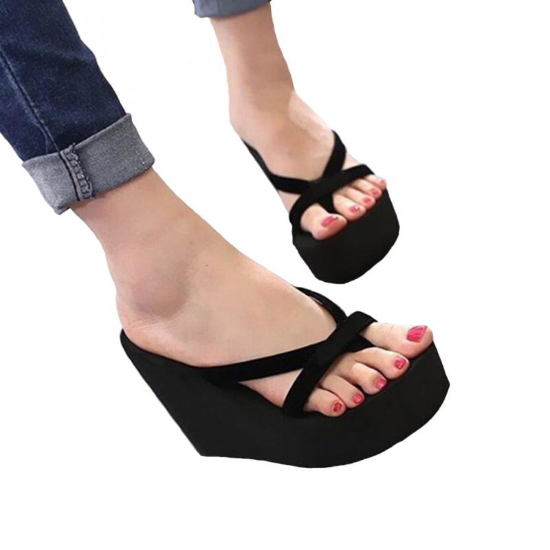 2019 Women Slippers Fashion Summer High Heel Beach Flip Flops Slipper Wedge Platform Shoes Sandals