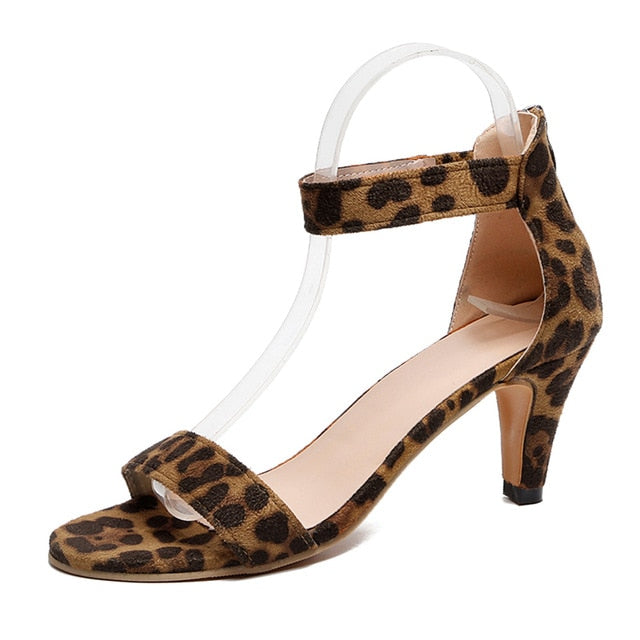 Women Solid Color Open Toe Sandals Summer Ladies 5CM Thin High Heels Sandals Female Plus Size Shoes 2019 New Leopard Print Shoes