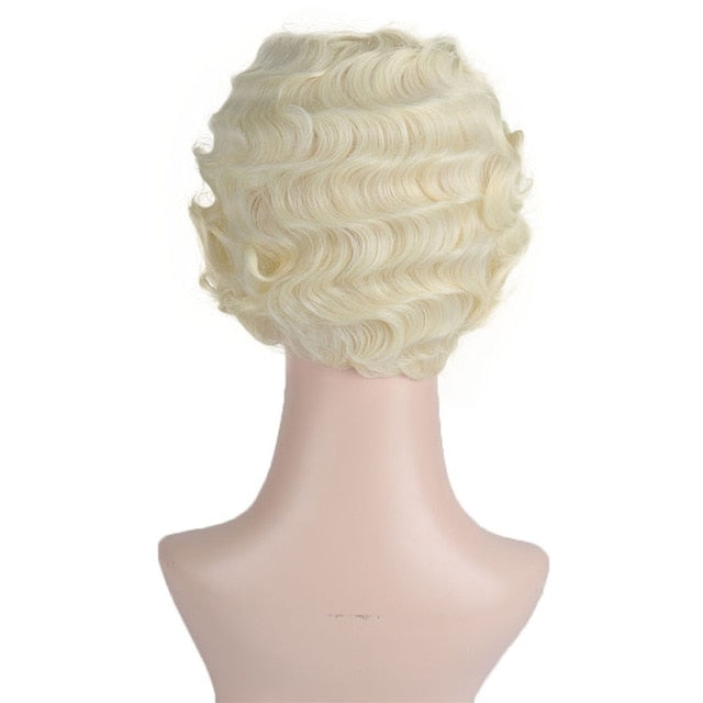 DIFEI Short Kinky Curly Hair Cospaly Wig High Temperature Fiber Hair Extension Wigs