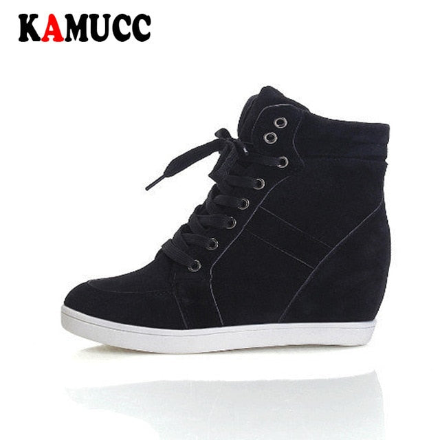 Spring Women Boots Faux Suede Leather Wedge Platform Boots Hidden Heel Shoes High Top Sneaker Casual Shoes for Woman Ankle Boot