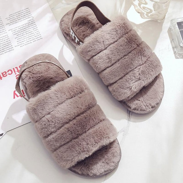 Fluffy Slippers Women Winter Shoes Fur Slipper Indoor Home Shoes Ladies Flat Sandals Pantoffels Dames Zapatos Mujer