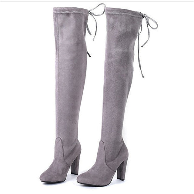 Sexy Over-the-knee Boots Women Boots Female Winter Shoes Woman Lace Up Fashion Suede High Heels Boots Thigh High Boots 41 42 43