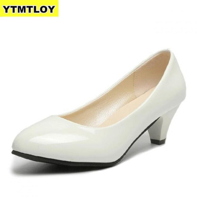 Women's Leather Med Heels New High Quality Shoes Pumps for Office Ladies High Heels Red Sexy Heels