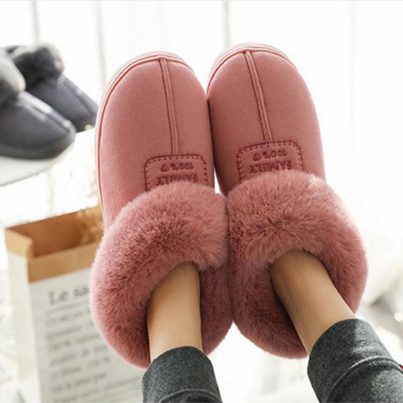 2019 Faux Fur Winter Warm Shoes Woman Men Indoor Slippers Soft Plush Anti-slip Lovers Home Floor Slipper Cotton Slides SH08271