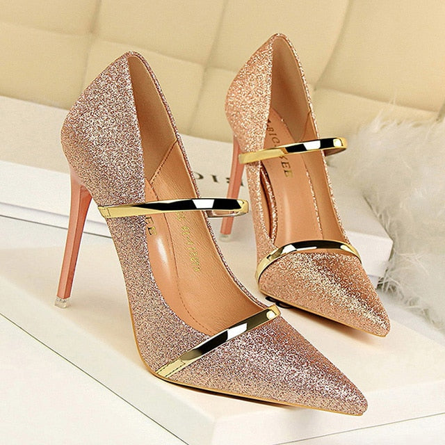 BIGTREE Shoes Sequin Cloth Women Pumps Pointed High Heels Women Shoes Gold Silver Wedding Shoes Sexy Women Heels Party Stiletto