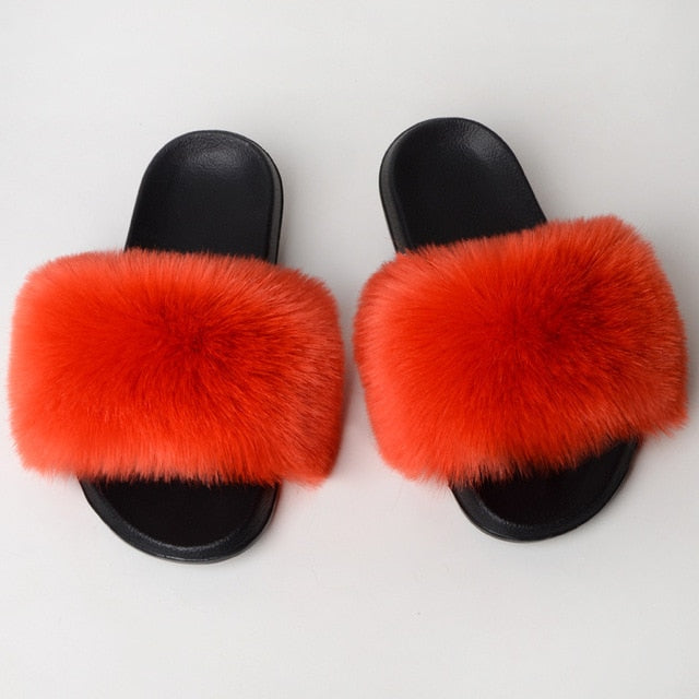 New Fluffy Faux Fur Slides Women Fur Slippers Furry Raccoon Sandals Fake Fox Fur Flip Flops Home Fuzzy Woman Casual Plush Shoes