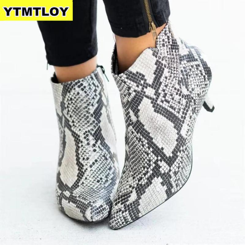 NEW Women's Ankle Boots Leopard Women Pointed Toe Ladies Chunky High heel Female Shoes Woman Footwear Plus Size 35-43 Snake