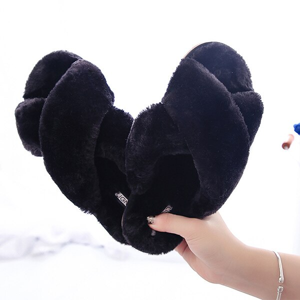 Women Slippers Indoor Shoes Winter Soft Home Slippers Plush Warm Non-slip Fur Shoes Flat Casual Female