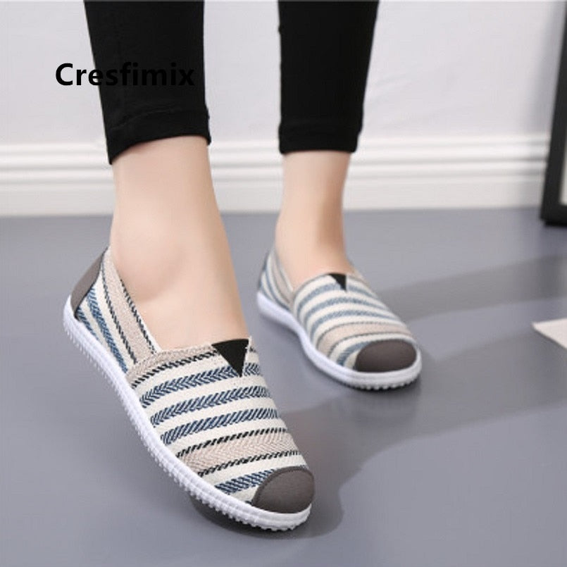 Cresfimix zapatos de mujer women fashion striped cloth shoes lady casual spring summer canvas slip on flat shoes female loafers
