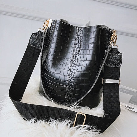DIDA BEAR Crocodile Crossbody Bag For Women Shoulder Bag Brand Designer Luxury PU Leather Bucket Handbag