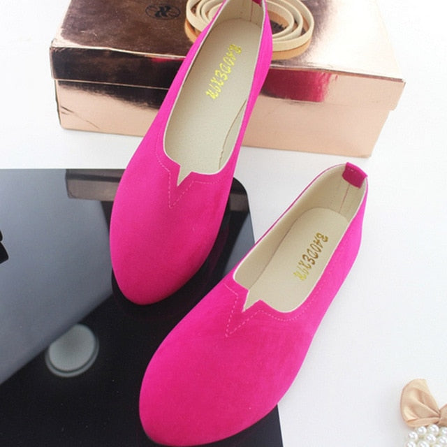 2019 Summer Work Women Shallow Mouth Flats Single Shoes Candy Color Nubuck Leather Comfortable Loafers Shoes