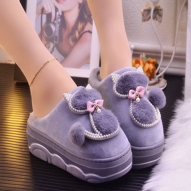 Platform ladies sexy slippers rhinestone warm slippers for women indoor house slippers cat bear girls winter shoes 2019