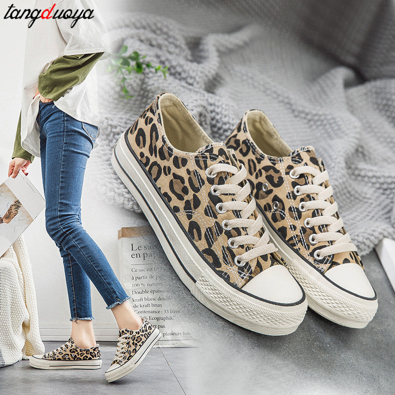 Leopard Canvas Shoes Women Flat Platform Sneakers Women Casual Shoes Woman High Top tenis mujer casual