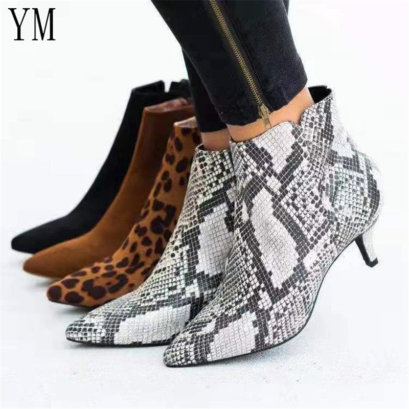 Hot Women's Ankle Boots Snake Leopard Pointed Toe Ladies Chunky Thin High heel Side zipper Female Shoes Woman Footwear Plus35-43