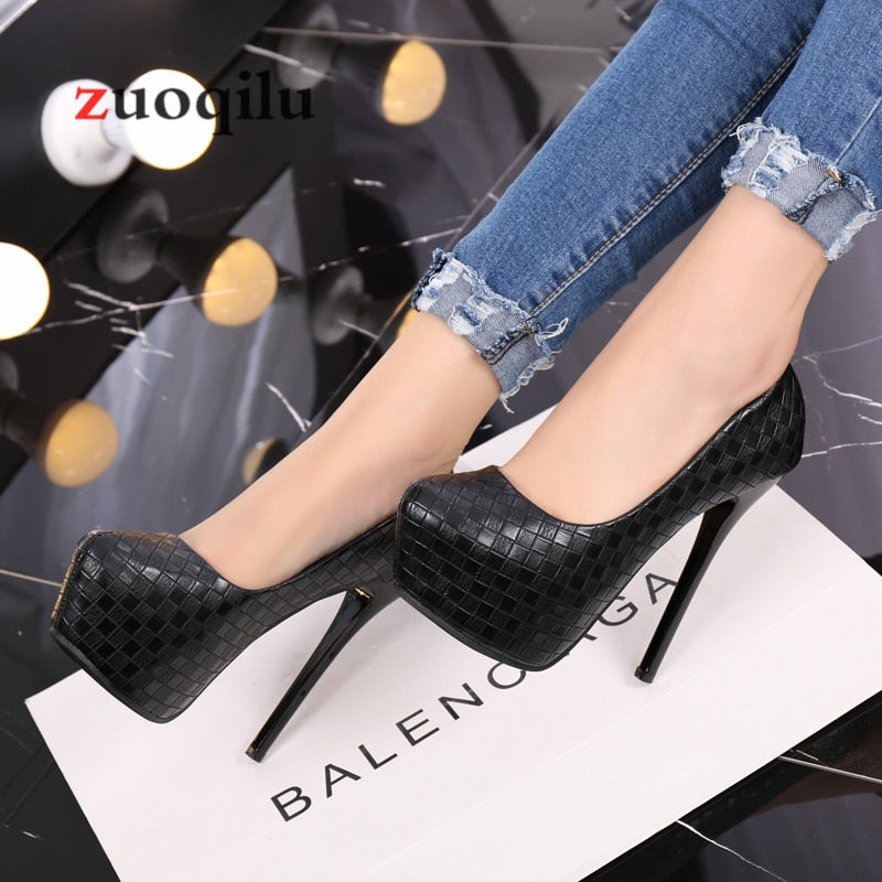 pumps women shoes black Woven lattice platform high heels shoes woman high heel pu leather shoes women