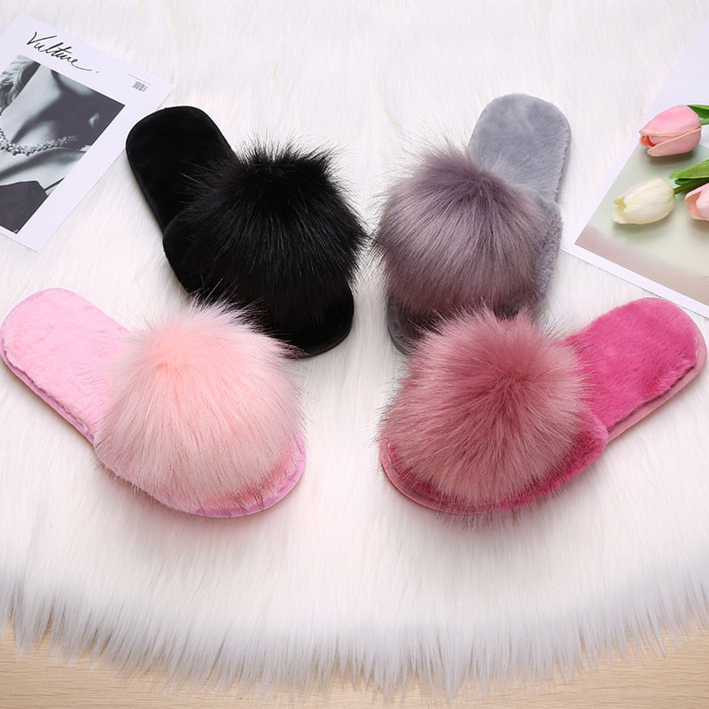 Fluffy Slippers For Women Fur Slides Furry Female Winter Home Shoes Fuzzy Woman Indoor House Ladies Flip Flops Chinelo Feminino