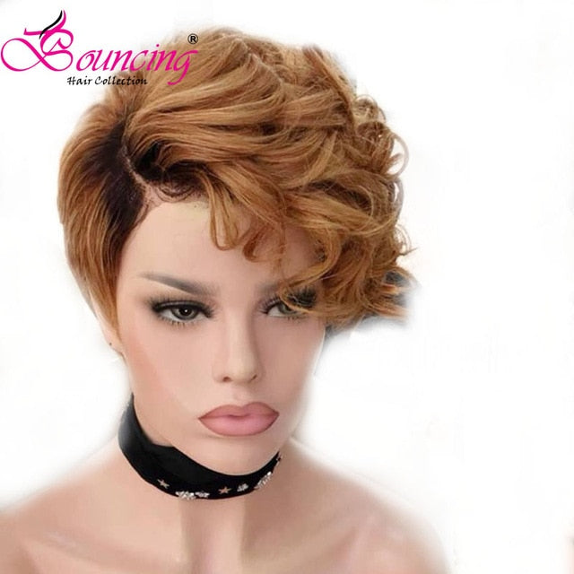 Bouncing Human Remy Hair 13*4 Swiss Lace Front Wig Short Pixie Cut Wig For Woman