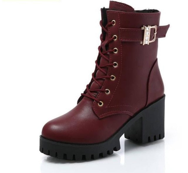 LZJ HOT Autumn Fashion Women Boots High Heels Platform Buckle Lace Up Zip PU Leather Short Booties Black Ladies Shoes Platform