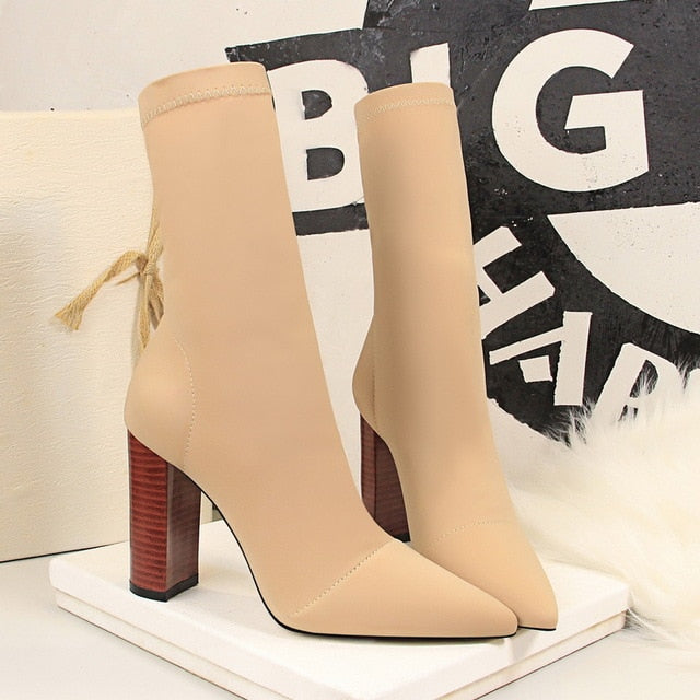 Mid-Calf Boots 2020 New Stretch Sock Boots Chunky Block heels High Heels Fetish Sexy High-Heeled boots Silk Shoes Women Boots 40