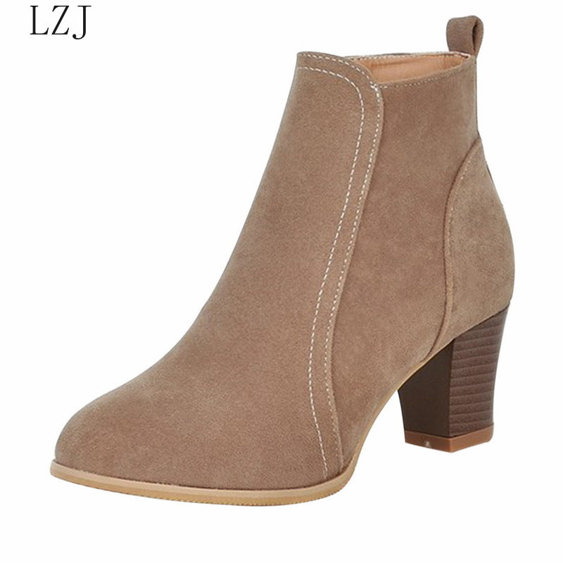 Women Ankle Boot 2019 Fashion Suede Leather Boots High Heel Ladies Shoes Ankle Boots Women Shoes Zapatos De Mujer