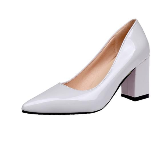 2020 Women Pumps Black High heels Lady Patent leather Thick Single pointed Shoes