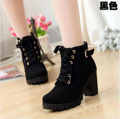 Boots Women Shoes Women Fashion High Heel Lace Up Ankle Boots Ladies Buckle Platform Artificial Leather Shoes bota feminina 2019