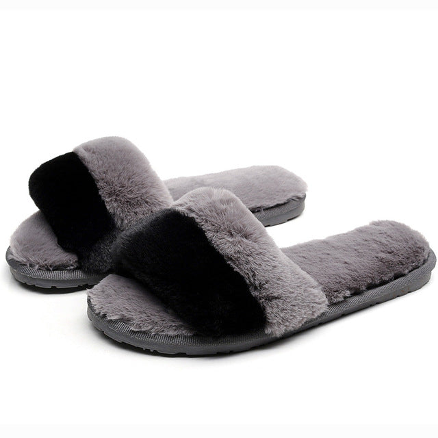 2019 Winter Women house Slippers Home Shoes Faux Fur Fashion Warm Shoes Woman Slip on Flats indoor slippers