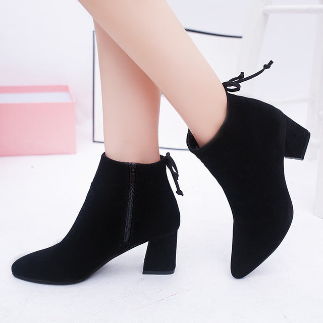 Women Ankle Boots 2020 Black Flock Winter Fashion Med High Heel Boots for Ladies Pointed Toe Plus Size Women Shoes